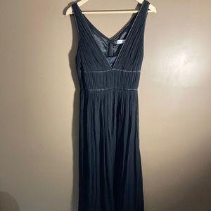 Calvin Klein double v neck silk black maxi dress